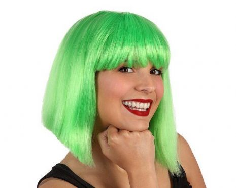Hair Wig Green Lady middle Length Space Astronaut Cosmonaut NASA Sci-fi